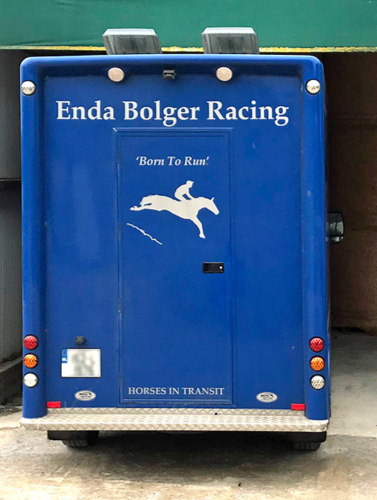 a blue horse box with logo
